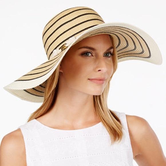 38a8c05f Calvin Klein Accessories | Nautical Sun Beach Hat Black | Poshmark